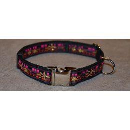 "Handmade adjustable collar, ""Pink Evenrude"" pattern"