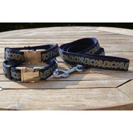 "Handmade Leash, ""Blue Decode"" pattern"