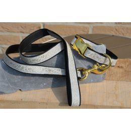 "Handmade Leash, ""Cream Decode"" pattern, golden loop"