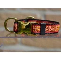 """Handmade adjustable collar, """"Blue Decode"""" pattern, golden loop"""