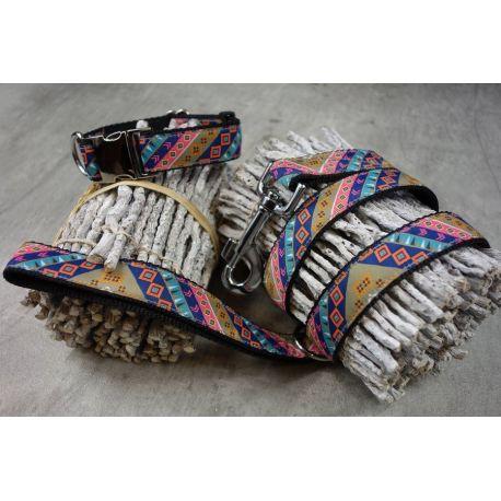 "Handmade Fabric Leash, ""Bow Tie"" pattern"