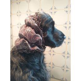 Snood - Cagoule protection oreilles tombantes - Motif design brun, ligné blanc