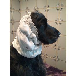 Snood - Cagoule protection oreilles tombantes - Motif design blanc, motifs noir & argenté