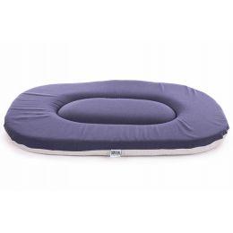 Coussin ovale plat bleu-gris