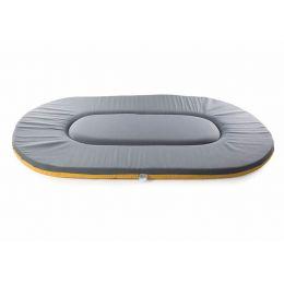 Coussin ovale plat bordeaux-sable