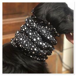 Snood - Cagoule protection oreilles tombantes - Motif design noir à pois blanc