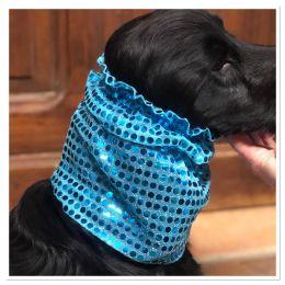 Snood - Cagoule protection oreilles tombantes - Motif bleu turquoise pailleté