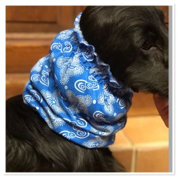 Snood - Cagoule protection oreilles tombantes - Motif tourbillons bleu ciel & blanc