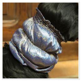 Snood - Cagoule protection oreilles tombantes - Motif bleu foncé pailleté métal