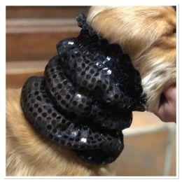 Snood - Cagoule protection oreilles tombantes - Motif noir pailleté
