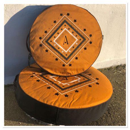 Dog round cushion - Curry