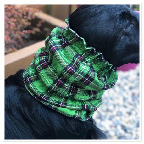 Snood - Protection for long ears - Black, green, orange circles design
