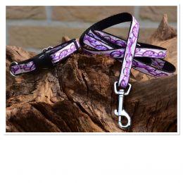 "Handmade Leash, ""Purple Marguy"" pattern"