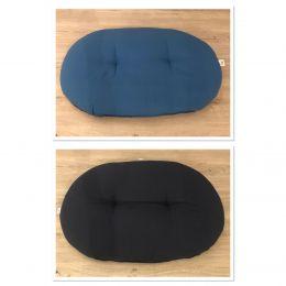 Coussin ovale bicolore ouatiné Bleu foncé/Noir