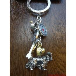Porte-clés métallique Cocker anglais